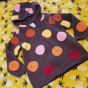 Gymboree Knit Hooded Big Dots Sweater